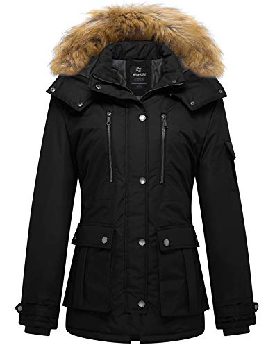 Wantdo Women's Puffy Thickened Parka Coat with Removable Fur Hood Small Black