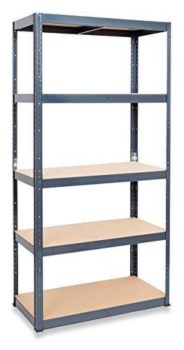 STORALEX Garage Racking Shelving Unit - Popular 45cm Deep Version - UK's Bestselling Garage Storage Shelves - 265kg Per Shelf (Evenly Distributed) - 5 Tier Shelf - Metal & MDF Boltless Assembly System
