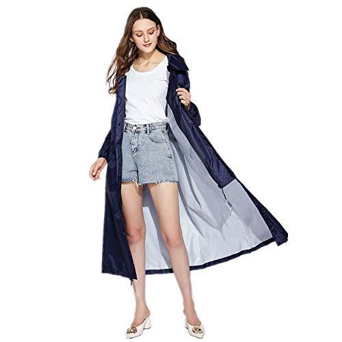 Chubasquero Largo Mujer Hombre Impermeable al Aire Libre Tour Rain Coat Chaqueta Capa Mujer Impermeables Tamaño Grande Azul