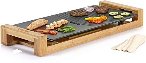 Table Chef Pure Duo – Plancha y parrilla, 25 x 50 cm, 1800 W, estructura de bambú