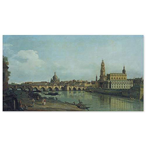 JUNIWORDS Poster, Bernardo Bellotto Canaletto, Dresden vom rechten Elbufer unterhalb der Augustusbrücke, 110 x 60 cm