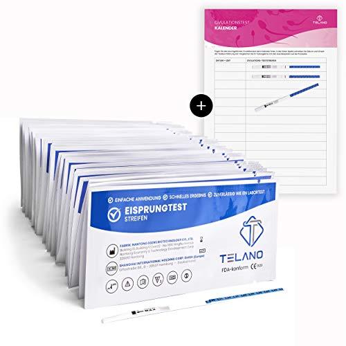 50x Telano Ovulationstest Streifen | Eisprungrechner Extra Empfindlich 10mIU/ml zur Berechnung der fruchtbaren Tage | Eisprung berechnen bequem von Zuhause aus