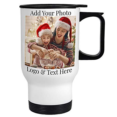 Custom Travel Coffee Mugs, 14 oz. Personalized Photo Travel Mugs - Add Photo, Logo, Text, Name on Coffee Mugs - Taza Personalizada, Personalized Photo Gifts for Grandpa, Grandma, Mother, Father