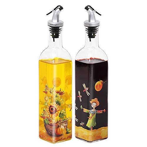 家庭用 業務用ガラスオイルポット調味料オイルボトル入りスパイスラック付き貯蔵油 醤油 酢生鮮2セット500 ml