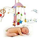 Baby Grow Frog & Owl Baby Rotating Music Rattle Plush Toys Pink Cartoon