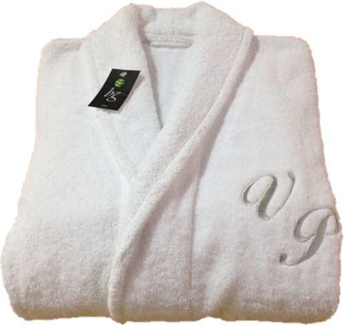 Albornoz con monograma blanco y cuello redondo de Hotel Spa