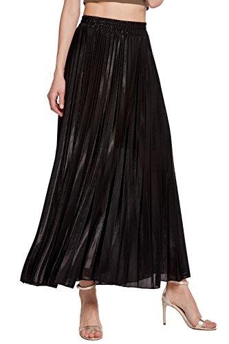 CHARTOU Women's Premium Metallic Shiny Shimmer Accordion Pleated Long Maxi Skirt (X-Small, Black)