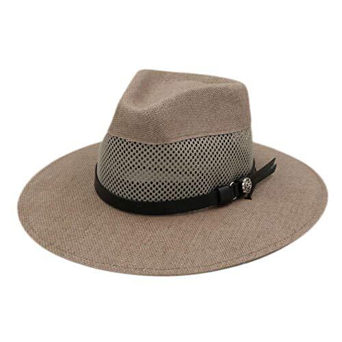 Unisex Straw Panama Hat Big Brim Summer Sunbonnet Mesh Cap Leather Band@Sand Brown