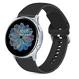 Oumida 20mm Correa Compatible con Samsung Galaxy Watch Active 40mm/Active2 40mm 44mm,Pulseras de Repuesto de Silicona Suave para Samsung Galaxy Watch 42mm/Watch 3 41mm/Gear Sport(S,Negro)