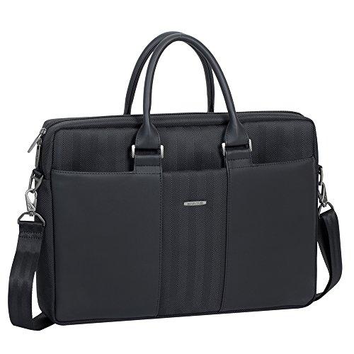 """RIVACASE Tasche für Laptops bis 15.6"""" – Hochwertige Notebooktasche mit verstärkten Seiten & einzigartiger Metallverzierung / 8135 Schwarz"""