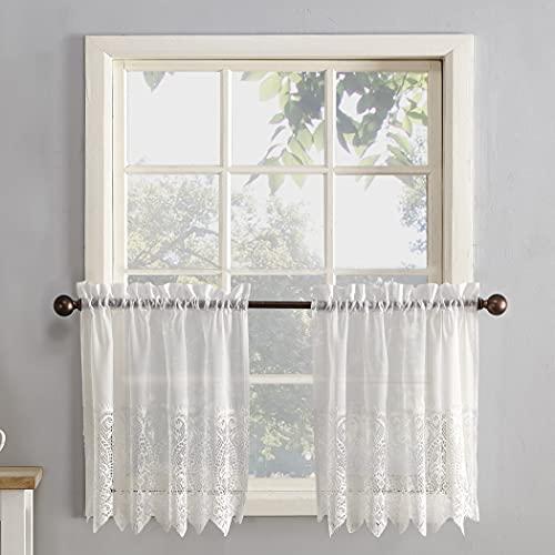 "No. 918 Joy Macrame Lace Trim Semi-Sheer Rod Pocket Kitchen Curtain Tier Pair, 60"" x 36"", Ivory"