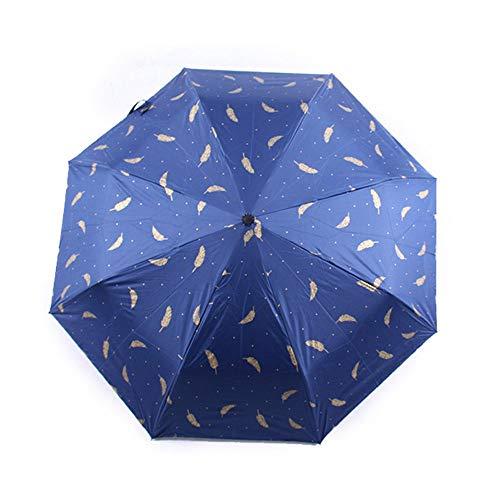 YuYzHanG Paraguas Plegable Resistente al Agua y protección Solar Compacto Plegable Paraguas Paraguas Viajes Mini Lluvia Paraguas (Color : Navy, Size : Free Size)