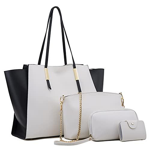 Bolsos de Mujer,Bolsos Mujer Grandes Cuero Bandolera Bolso de Hombro Bolso Tote Bolso Shopper Bolsos de Mano Bolso Señora de 4pcs Set (Blanco)