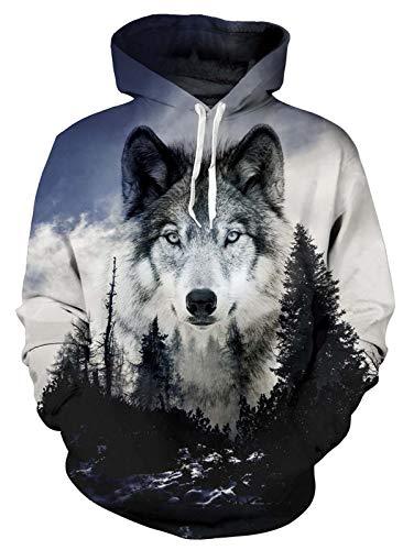 ALISISTER Unisex 3D Wolf Hoodies Kapuzenpullover Teens Mädchen Jungen Neuheit Muster Pullover Hoodys Beiläufig Sport Party Kostüme Kapuzen-Sweatshirt mit Taschen L