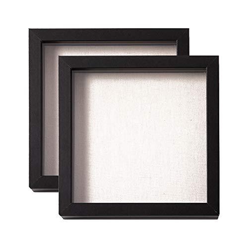 Muzilife 3D Bilderrahmen zum Befüllen 2 Stücke 20x20cm Tiefe Box Objektrahmen mit Glasscheibe Schwarz