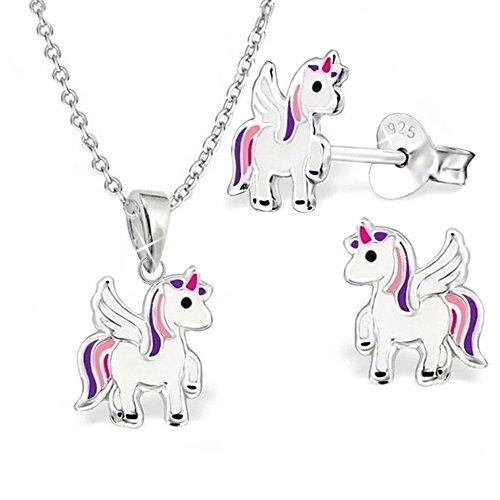 GH* KIDS, Mini unicorno per bambini, set ciondolo + collana + orecchini in argento Sterling 925, orecchini da ragazza, cavallo Pegasus e Argento, cod. S-0L0937