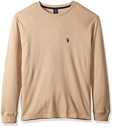 U.S. POLO ASSN. Herren Long Sleeve Crew Neck Solid Thermal Shirt Sweatshirt, Khaki Heather, Small