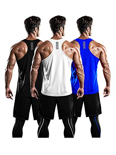 DRSKIN Men's 3 Pack Dry Fit Y-Back Muscle Tank Tops Mesh Sleeveless Gym Bodybuilding Training Athletic Workout Cool Shirts (BTF-ME-TA-(B,W,BL), L)