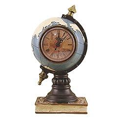 EXCEART Vintage Desk Clock Globe Design Metal Clock World Map Retro Antique Tabletop Clock Ornament for Home Office Desk Decoration Blue