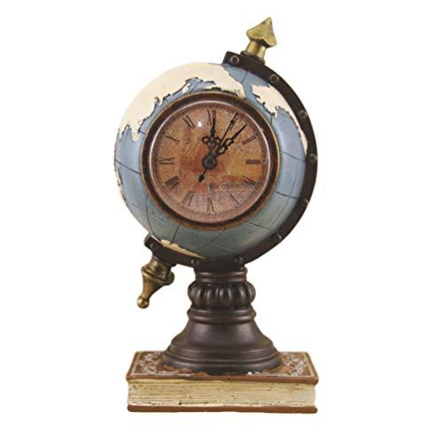 EXCEART Reloj de Escritorio Vintage Reloj de Metal Diseño de Globo Mapa del Mundo Retro Reloj de Mesa Antiguo Ornamento para Decoración de Escritorio de Oficina en Casa Azul