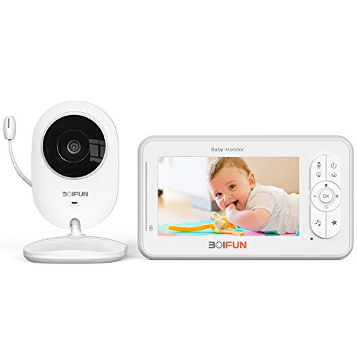 Babyphone Caméra Video, BOIFUN Moniteur Bébé avec Écran Numérique de 4,3 Pouces, VOX, Vision Nocturne, Surveillance de la Température, Berceuses, Veilleuse, Alarme de Nourriture
