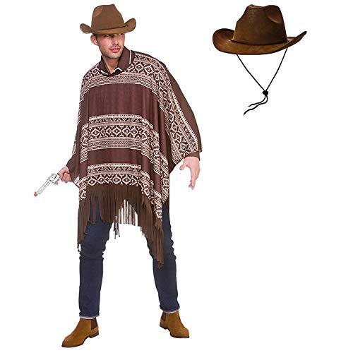 Cowboy-Poncho für Erwachsene, Kostüm + Hut (Einheitsgröße)