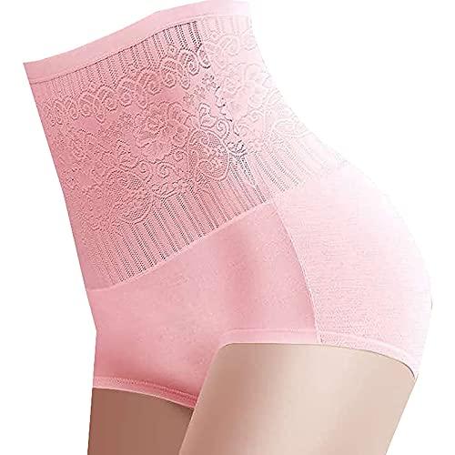 Bragas de cintura alta para el abdomen y las caderas de las mujeres, JK-421, rosa, L