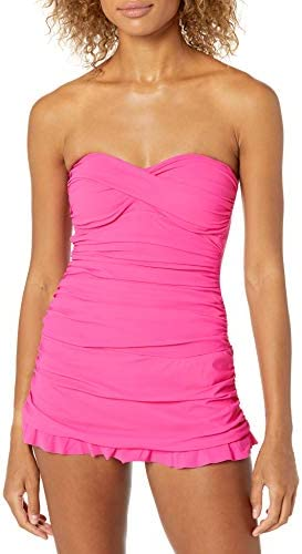 Profile by Gottex Women s Classic Bandeau Swimdress One Piece Swimsuit Tutti Frutti Pink 10 product image