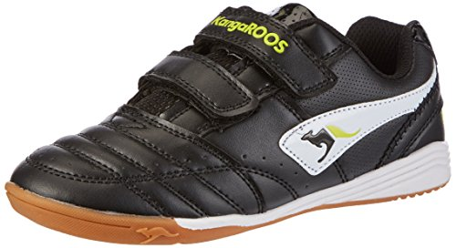 KangaROOS Power Court, Unisex-Kinder Hallenschuhe, Schwarz (black/white/lime 508), 27 EU
