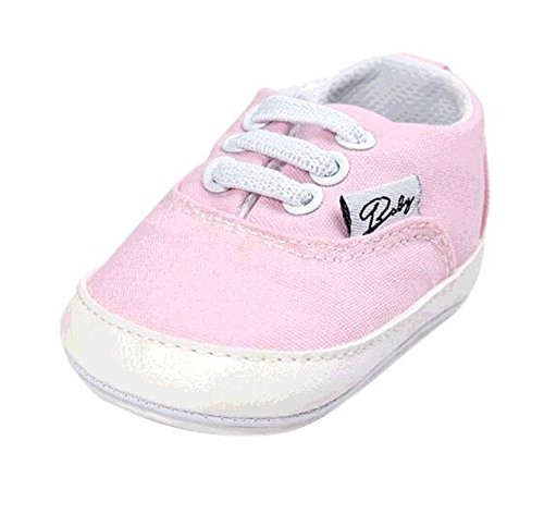 BENHERO Baby Boys Girls Canvas Toddler Sneaker Anti-Slip First Walkers Candy Shoes 0-24 Months 12 Colors(12cm,6-12 Months Infant, Aa/Pink)