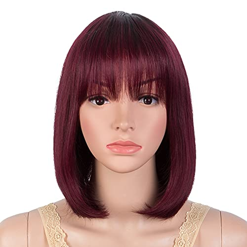 JOEDIR HAIR Straight Bob Wig with Bangs Red Ombre Brazilian Human Hair Wigs 10 Inch Short Straight Wig for Women (Color TT1B/99J)