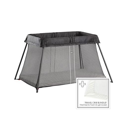 BabyBjörn Travel Crib Light + Fitted Sheet Bundle Pack, Black, One Size (640001US)