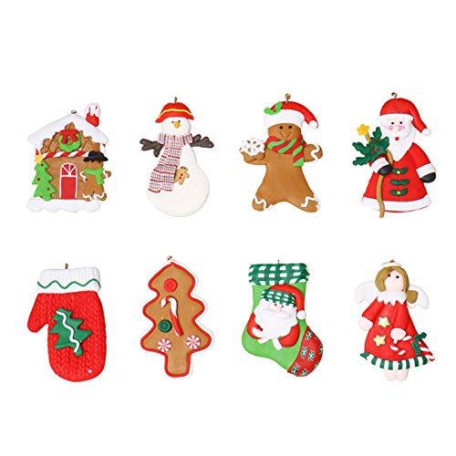 XYACM Christmas Plush Ornaments, Xmas Hanging Decoration Santa Clause Snowman Reindeer Doll for Christmas Tree Pendant Stocking Ball Bell Holiday Party Decor (8 Pack)