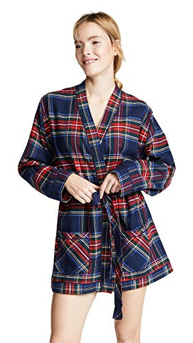 Plush Women's Ultra Soft Flannel Robe, Navy/Red Plaid, Large
