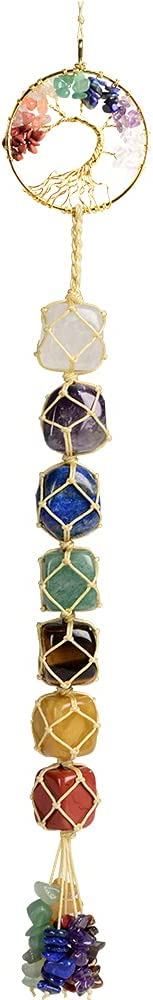 Tree of Life Handmade 7 Chakra Healing Crystals Feng Shui Hanging Ornament for Home Decor