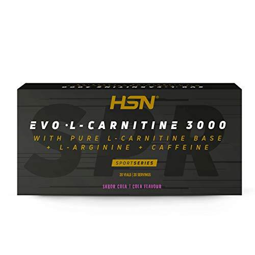 Carnitina Líquida de HSN Evo L-Carnitine 3000 | Pérdida de Peso + Quemagrasas + Fat burner con Arginina, Cafeína | Vegetariano, Sabor Cola, 20 Viales