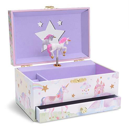 Jewelkeeper - Musikalische Schmuckschatulle für Mädchen mit ausziehbarer Schublade, glitzerndem Regenbogen und Sternendesign - dem Einhorn Song