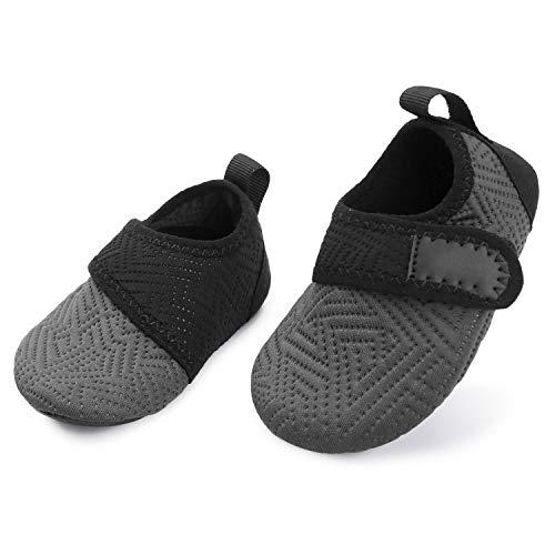 L-RUNJP Kleinkind Schwimmen Schuhe Kleine Kinder Strand Wanderschuhe Licht Grau schwarz 6-12 Monate = EU17-18