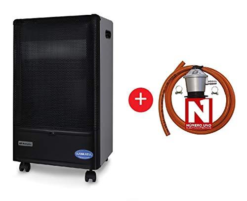 ElectrodomesticosN1 Pack Estufa Orbegozo de Butano HBF 90 Llama Azul, 4200 W + Regulador de Gas butano HVG, Tubo Manguera 0,8 Metros, Abrazaderas
