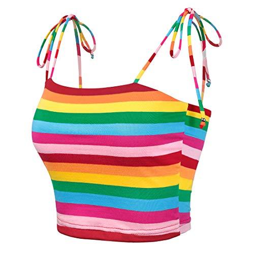 Allegra K Women's Colorful Rainbow Striped Tie Spaghetti Straps Crop Top Sleeveless Summer Cami Tube Tops XL Multicolor