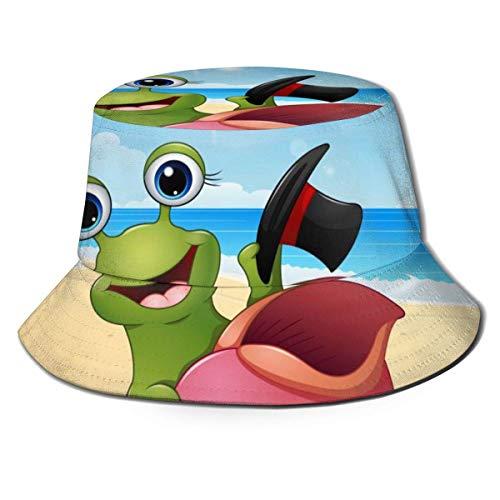 Flat Top atmungsaktive Eimer Hüte Kappe Unisex lächelnde Schnecke Cartoon Sonnenhut Sommer Fischerhut