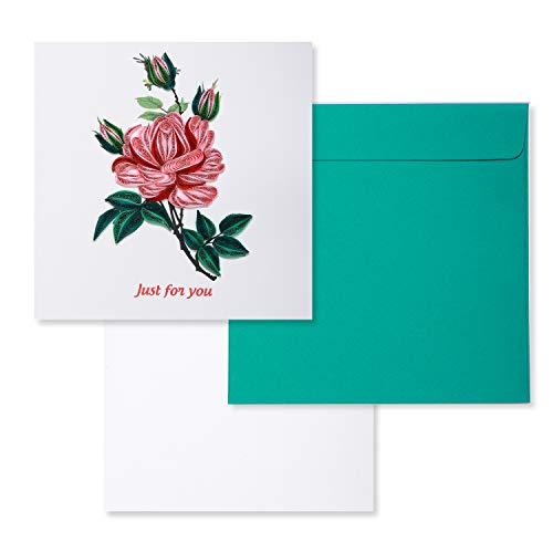 Quilling-Grußkarte für alle Anlässe, handgefertigte 3D-Grußkarten, geeignet zum Einrahmen, Vatertagskarte, Dankeskarte, Geburtstagskarte, 3D-Karte, mit Umschlag, 15,2 x 15,2 cm (Rose))