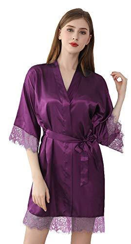 DF-deals Women's Satin Kimono Robes Short Silk Bride and Bridesmaids Wedding Party Robe with Lace Trim Purple Medium