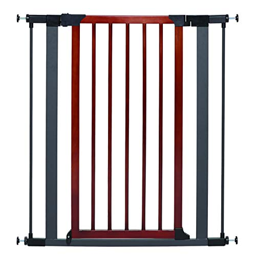 Steel Pet Gate w/ Textured Graphite Frame & Decorative Wood Door, 39H x 28-38W Inches