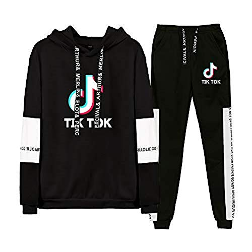 Aibayleef TIK TOK Conjunto Dos Piezas Completo Capucha Sudadera Blusa y Pantalon para Mujer Hombre Chandal Gimnasio Sportwear Tracksuit
