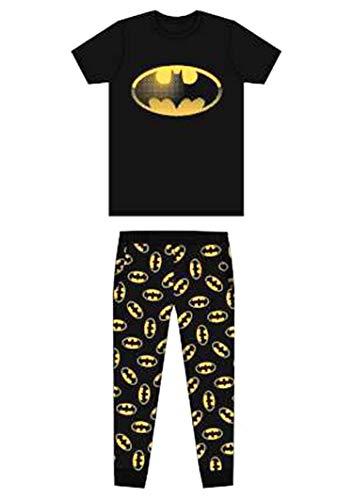 Herren Erwachsene Neuheit Batman Spiderman Superman Avengers Jurassic Park Harry Potter Schlafanzüge Pyjama Pj-Satz Kostüm - GR. S-XL - Batman - Logo Schwarz, L