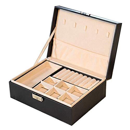 Joyero de piel sintética para mujer, caja de almacenamiento para pendientes, pulseras, collares, anillos, organizador de joyas portátil de doble capa, color negro