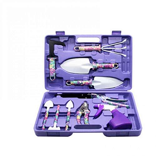 Kit de herramientas de jardín de acero inoxidable con caja de almacenamiento, juego de herramientas de jardín, kit de herramientas de mano para el cuidado de plantas y regalos de jardinería (entrega rápida) (morado)