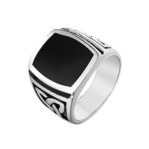 jonline24h Mens Stainless Steel Ring, Celtic Knot Signet, Black Silver(13)