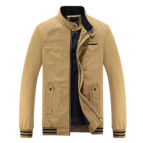 Xmiral Herren Jacke Mantel Outwear Winter Warm Schlank Lange Reißverschluss Mantel Bluse (EU 34,Gelb)